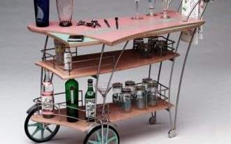 Unique cocktail cart with different size of wheels