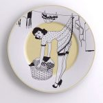 Unique dinner plate design with sexy woman picture on it