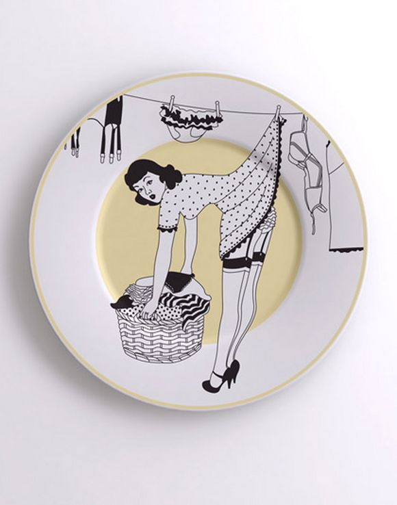 Unique dinner plate design with sexy woman picture on it : design dinner plates - pezcame.com