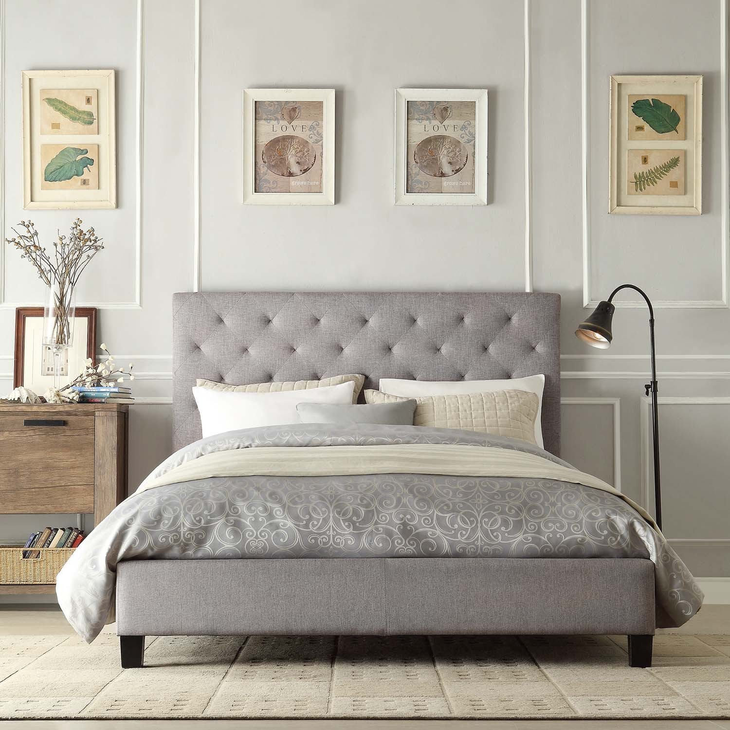 White bedrooms bedside tables night stands upholstered headboards - Upholstery Headboard In Grey Grey Bedcover Idea White Pillows A Black Coated Metal Stand Lamp A