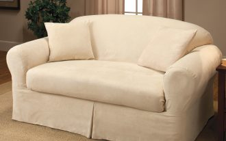 White Two Loveseat Slipcover with Brown Rug