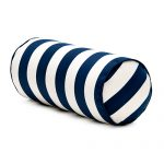 White and bold blue strips bolster pillow