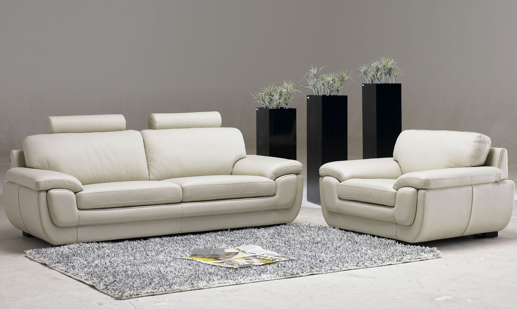Attractive White Chairs For Living Room With Headrest Feature Grey Wool Area Rug  Elegant Modern Black Plant