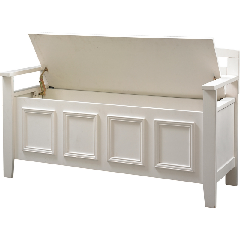 White wood storage bench practical and doubled functional storage solution homesfeed Storage benches