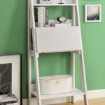WhiteLadder Bookcase Drop Down Desk Bookcase Green Painted Wall Wood Floor