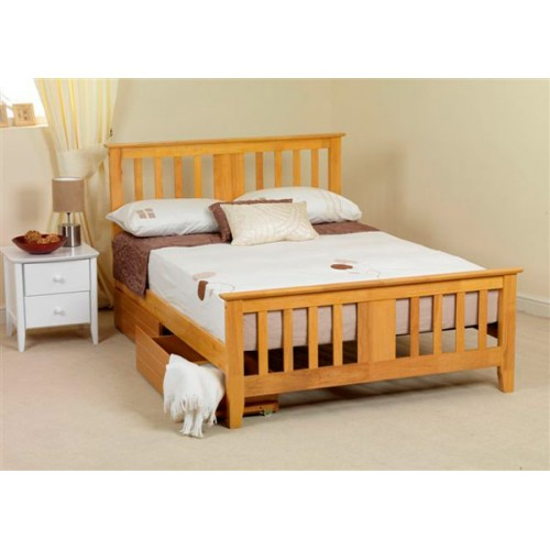 wood bed frame with headboard and storage underneath white bedding white pillows white bedside table with