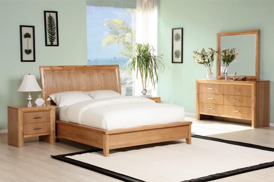 Wooden Bed Frame In Modern Style Wood Side Table With Drawer System Modern  Table Lamp A
