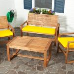 Wooden close out furniture with bright yellow cushion