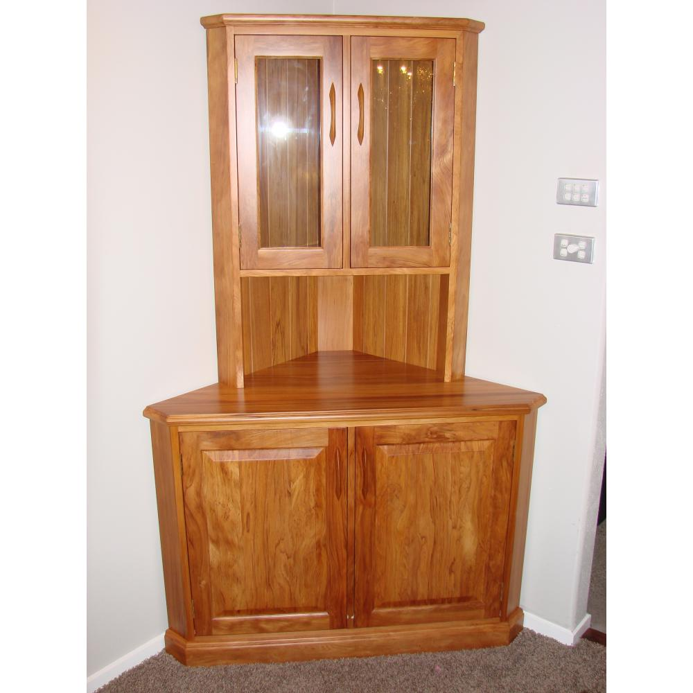 Wooden Corner Hutch Cabinet System With Glass Door And Single Shelf Feature