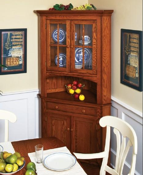 Wooden hutch cabinet as the corner decorative furniture - Corner Dining Room Hutch Storage Ideas HomesFeed