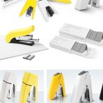 Yellow white and black paper staplers