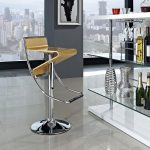 Zig-Zag Adjustable Height Swivel Bar Stoolby Modway walnut color for modern room sleek tile floor decorative wines and glasses