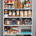 a pantry closet organizer idea with rattan boxes storages