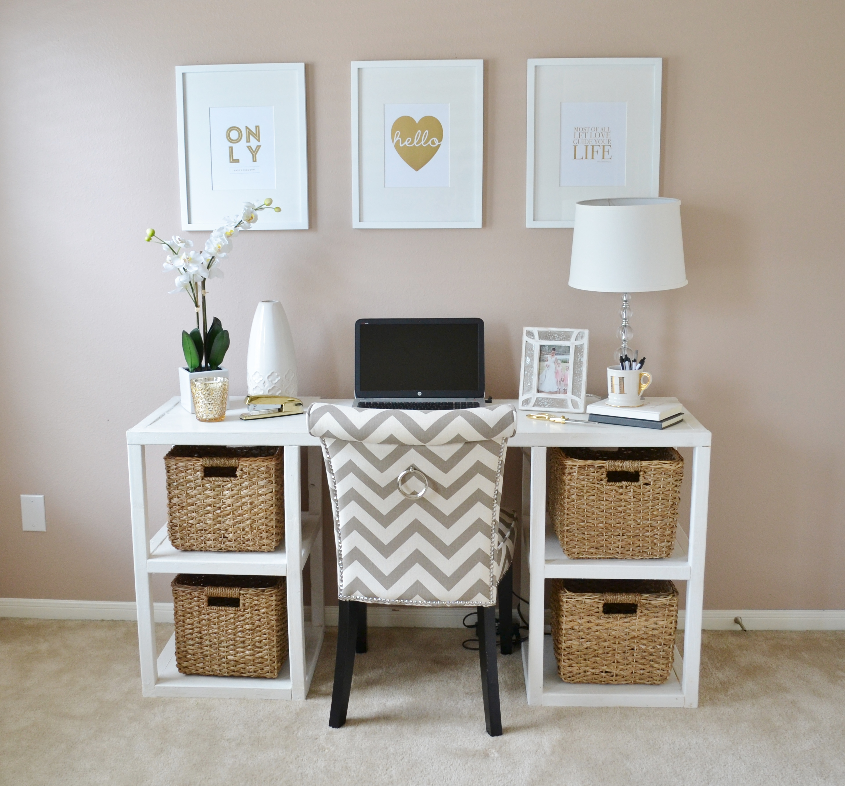 adorabl working picture frame target design on crem wall above desk with storage bin and white