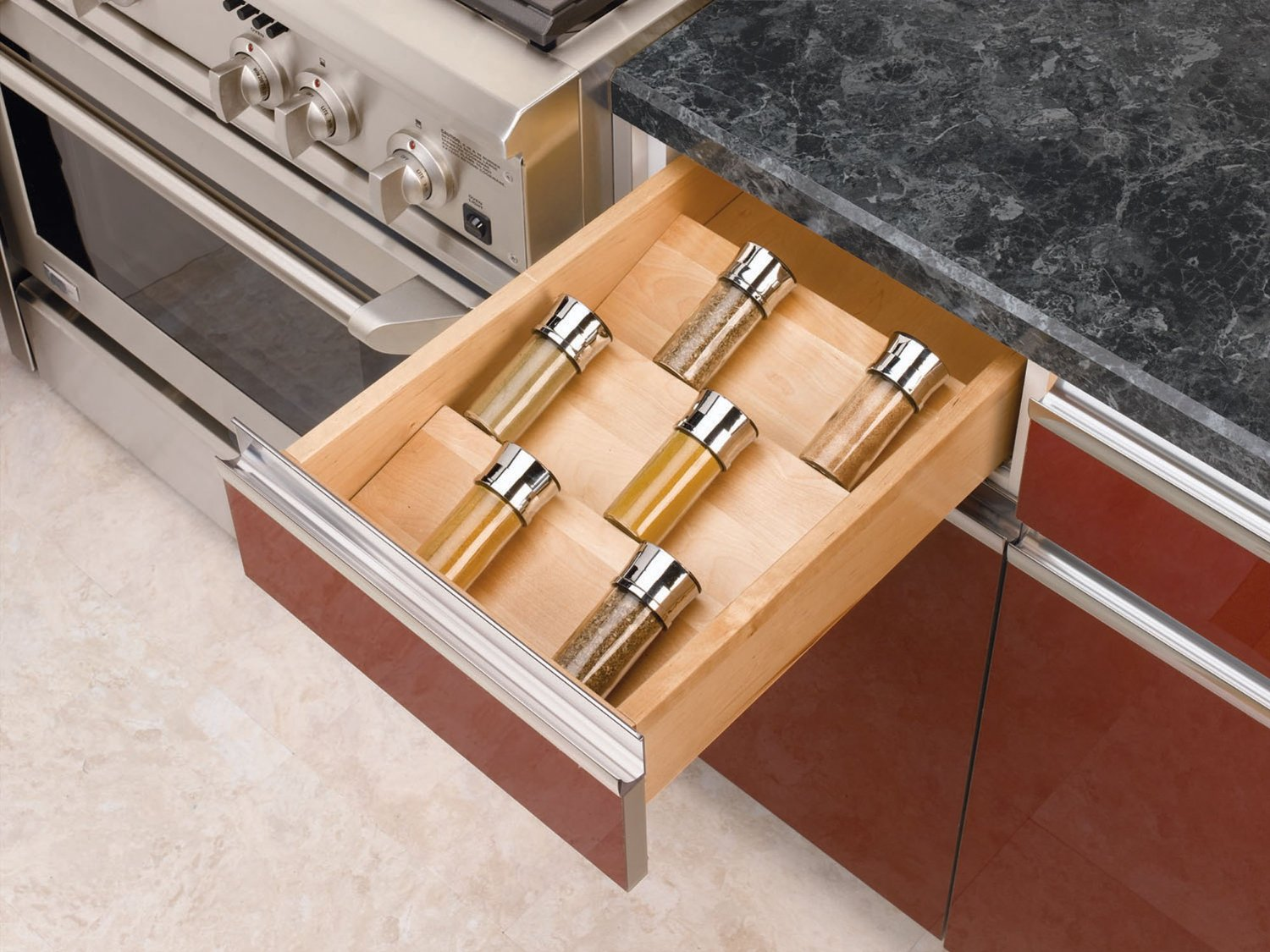 Small Countertop Spice Rack : ... for wooden cabinet in kitchen with small simple in drawers spice racks