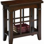 adorable brown skinny side table idea with storage and glass accent for bookshelf