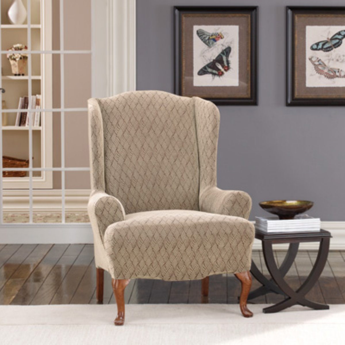 Adorable Creamy Patterned Wing Back Slipcover Design With Black Side Table  On White Area Rug And