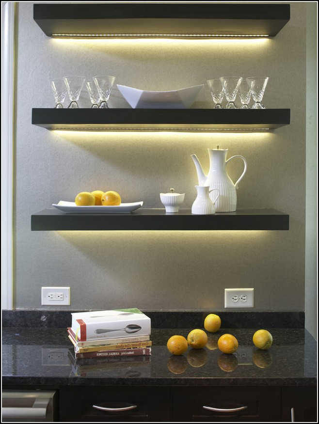 adorable kitchen floating shelves lowes design with glass and cattle with lighting - Glass Shelves Lowes