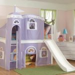 adorable sweet purple crib size bunk bed esign with tent and sliding and green area rug and beige floor and dresser