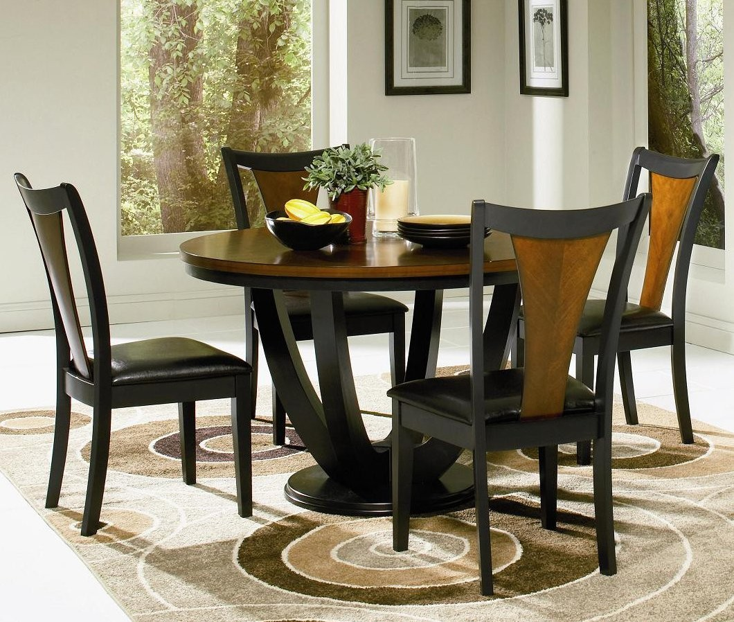 Round kitchen table set for 4 a complete design for small for Wood dining table set