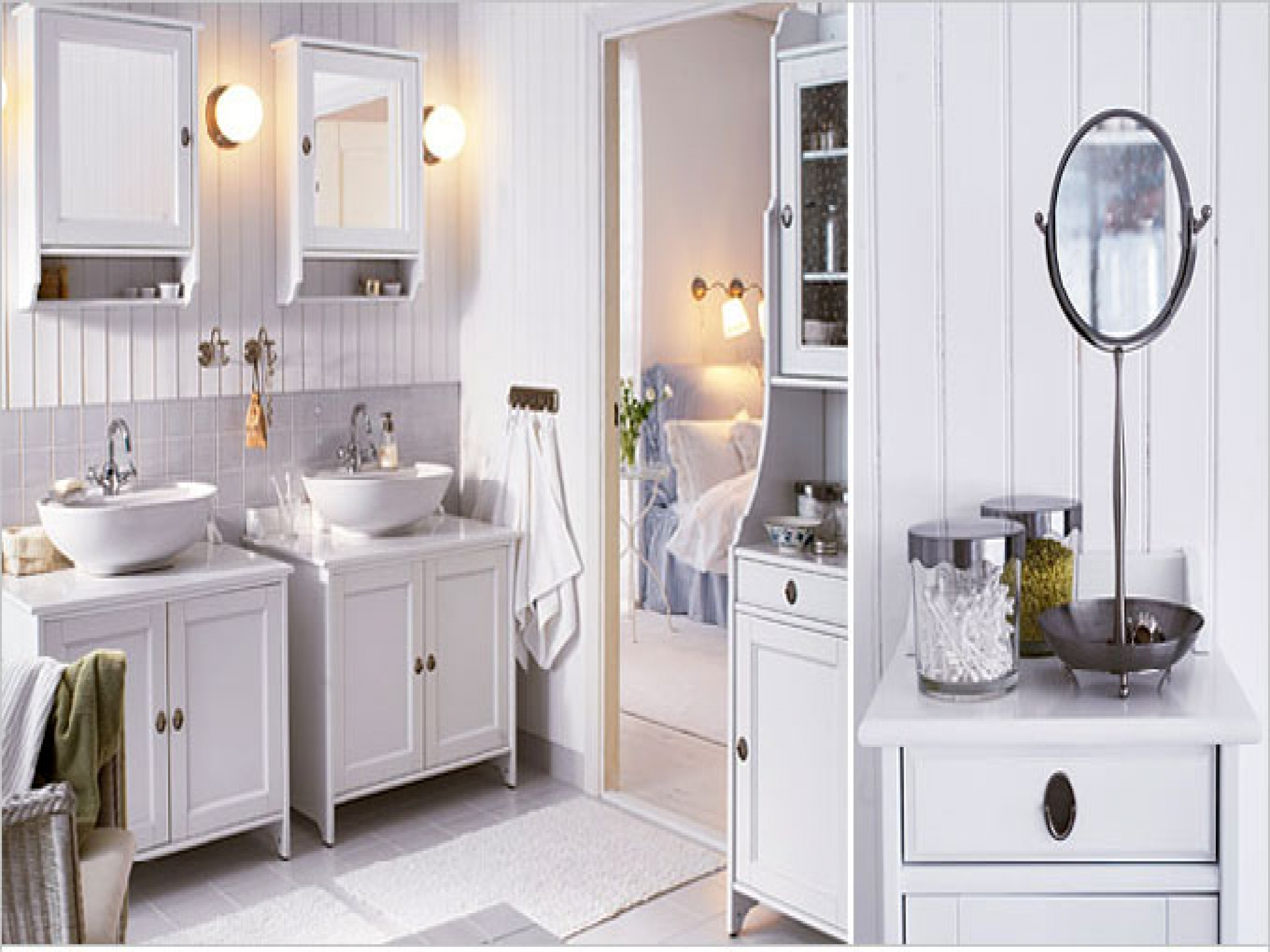 Adorable Vintage White Ikea Bath Cabinet Design With Twin Wall Mirror And Bowl Sink And Wainscotting