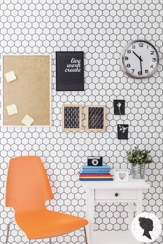 Adorable White Honeycomb Patterned Peel And Stick Removable Wallpaper With Target Frame Picture Cloc