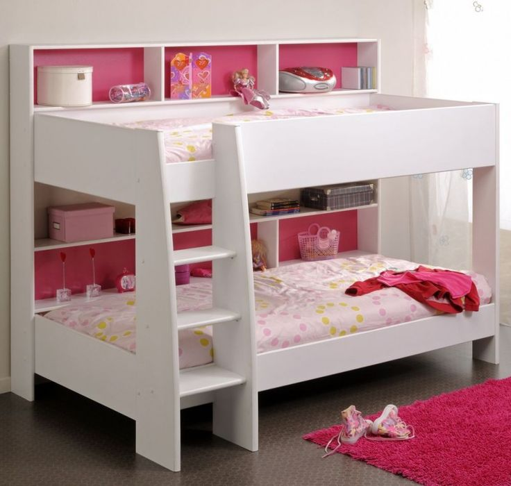 Adorable White Pink Bunk Bed For Small Space Design In Soft And Vibrant Combination
