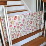 adorable white pink patterned baby gate for top stairs for white wooden staircase idea on wooden floor