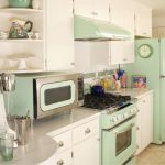 adorable white soft green retro style appliance idea in simple kitchen with modern cook top and refrigerator and faucet