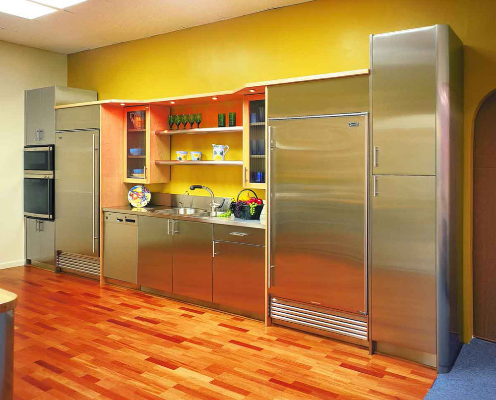 some paint color for kitchen ideas to change the outlook homesfeed adorable yellow painted color for kitchen with stainless steel cabinet and backsplash storage and hardwood floor