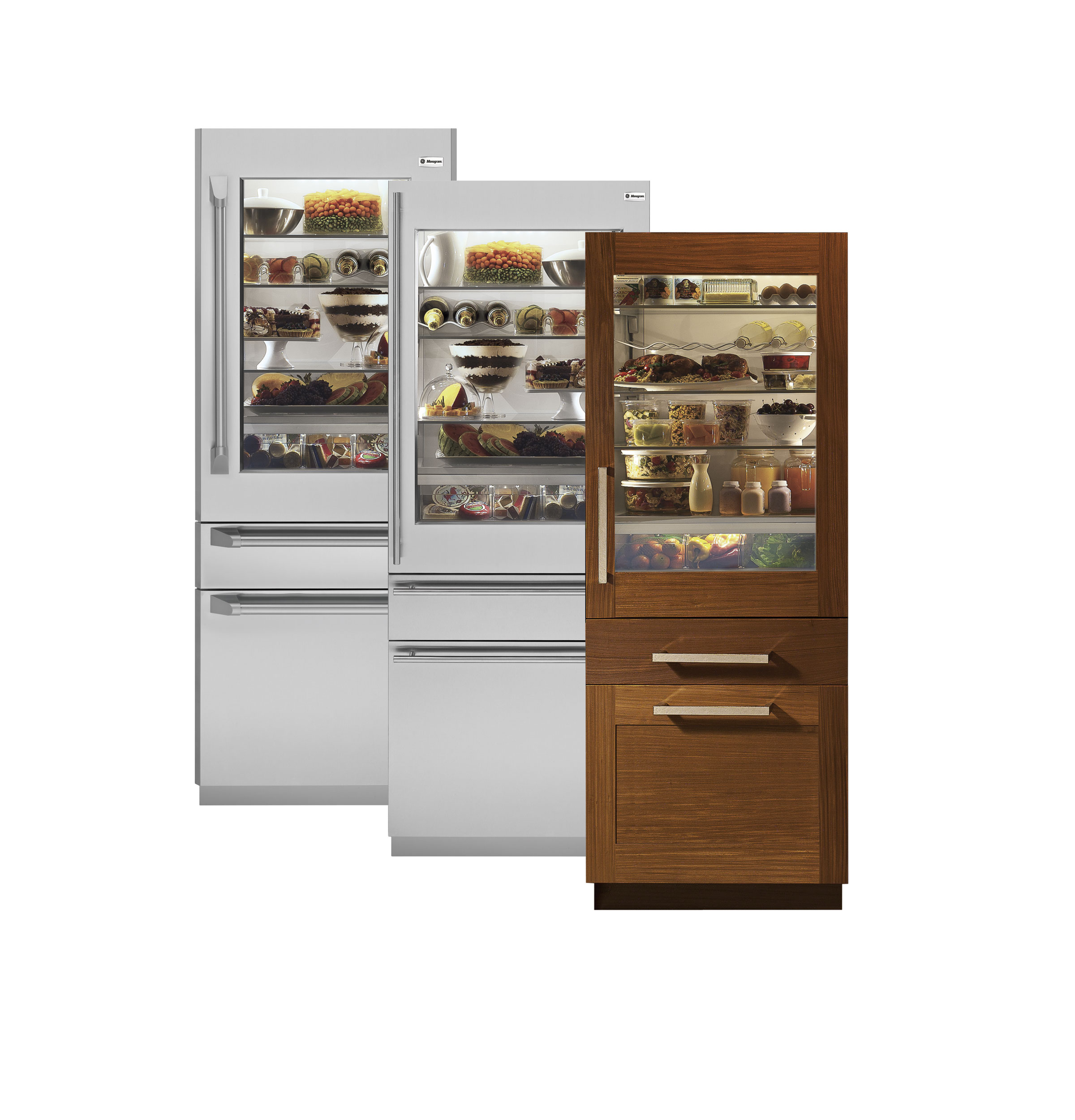 Ade Brown And White Glass Door Refrigerator Residential Design With Lower Storage Slim