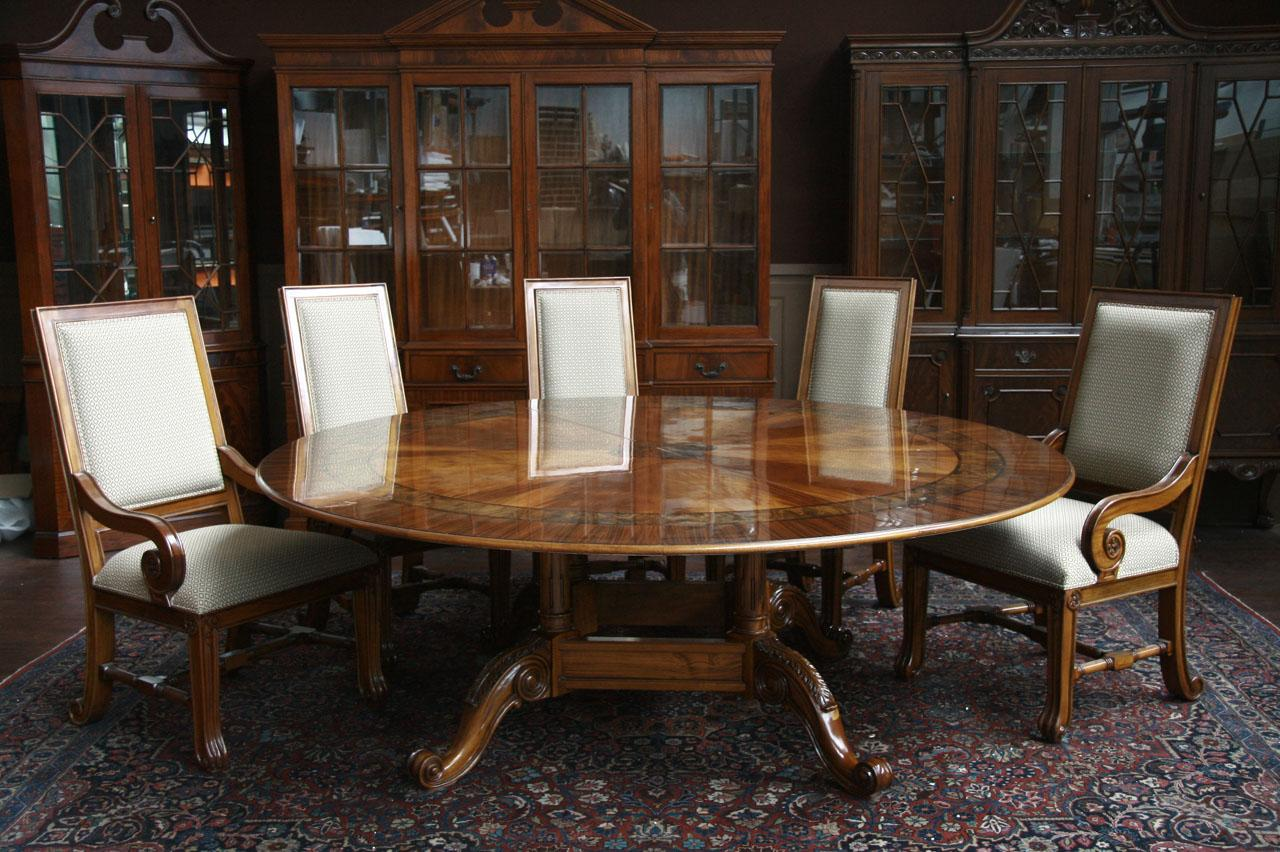 amazing 84 round dining table with glossy look and white chairs with backrest and wooden frame