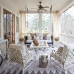 amazing porch ideas with indoor outdoor curtains with hanging chair with mid century fan with lighting plus modern rug