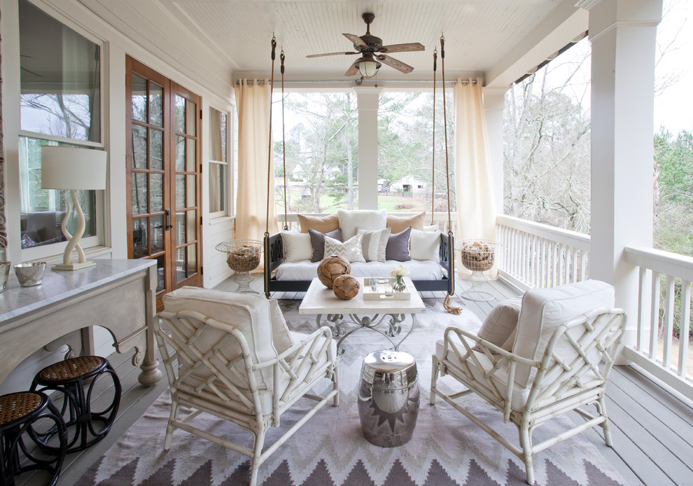 Amazing Porch Ideas With Indoor Outdoor Curtains With Hanging Chair With  Mid Century Fan With Lighting