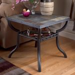 Antique Square Slate End Tables With Natural Slate Tiling Plus Curved Iron Table Legs Decorated Aside Brown Sofa And Laminate Flooring Plus Brown Rug And Pretty Centerpiece