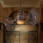 Antique Traditional Dual Head Ceiling Fans With Built In Lamp For Antique House Design