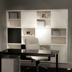 aodrable white bookcases with glass door with storage bin and black desk and white swivel chair