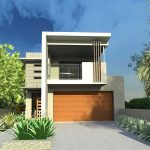 architectural small lot house plan idea with wooden and concrete combination with patio deck