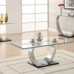 awesome cocktail table sets with glass top and stylish metal leg and side table with glass top decorated with vase and frame plus beige rug and laminate floor