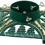 Awesome Firm Green Christmas Tree Stand For Real Tree With Pine Trees Pattern With Green Metal Tube Center
