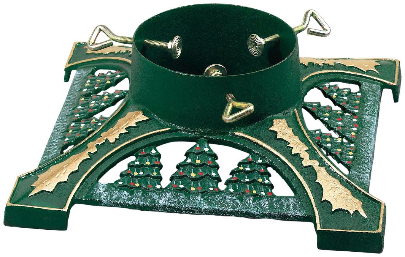 awesome firm green christmas tree stand for real tree with pine trees pattern with green metal - Christmas Tree Stands