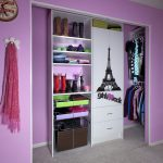 awesome purple closet organizer for small closet idea with eiffle picture and scarf hanget and storagebin and boots slot