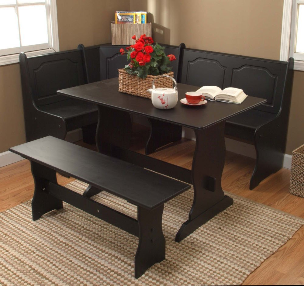 Awesome Space Saver Dining Set Made Of Wooden With Sectional Chair And  Wooden Bench Plus Rectangular