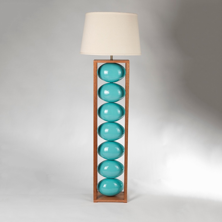 Turquoise Floor Lamp | Soul Speak Designs:awesome turquoise floor lamp with white shade and cool post with turquoise  ball and wooden accent,Lighting