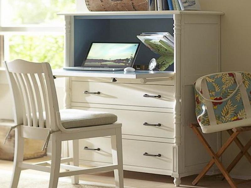Awesome White Mid Century Secretary Desk Design With Drawers And White  Chair And Bolster And Bag