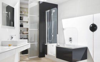 bath tub shower shelf mirror sink