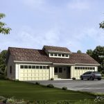 beautiful 4 car garage plan with up floor living space large front yard with green grass and beautiful flowers