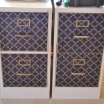 beautiful elegant decorative file cabinets wih blue golden walpaper