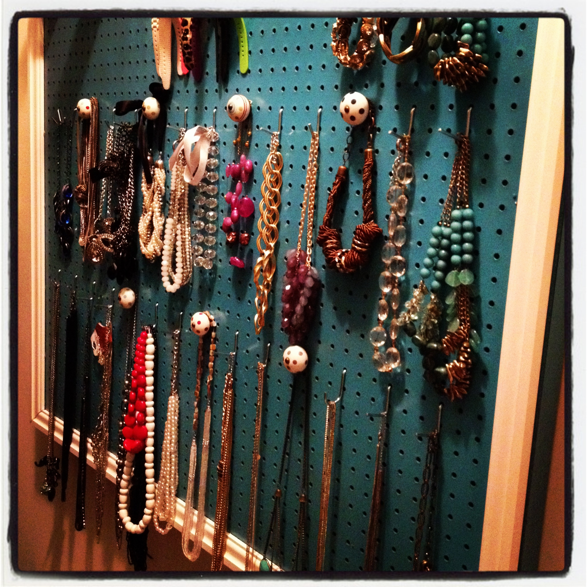 beautiful frame green pegboard jewelry display pretty stone necklaces bracelets