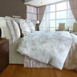 beautiful silky flower motive organic cotton bed sheets wooden floor modern bedroom white brown curtain